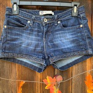 Levis denim distressed blue embroidered shorts